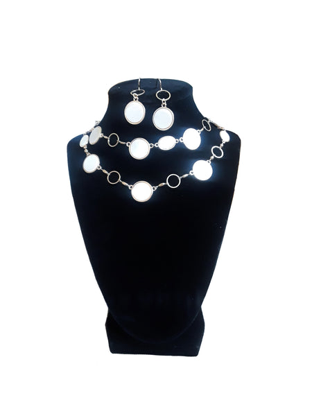 White & Gold Circle Jewelry Set - Envee Styles Boutique