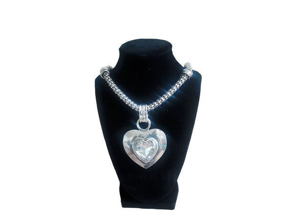 Large Heart Silver Necklace - Envee Styles Boutique