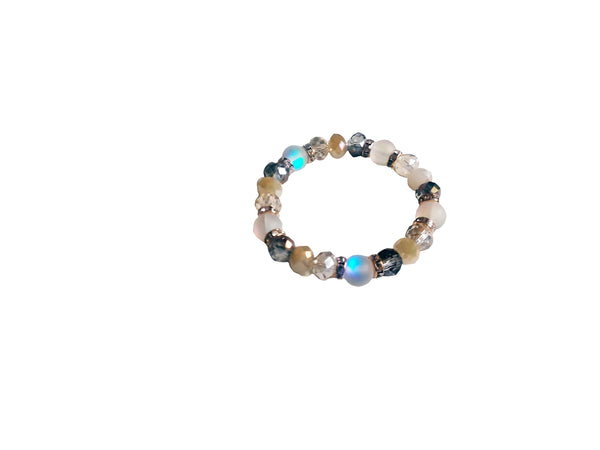 White & Gold Silver Beaded Bracelet - Envee Styles Boutique