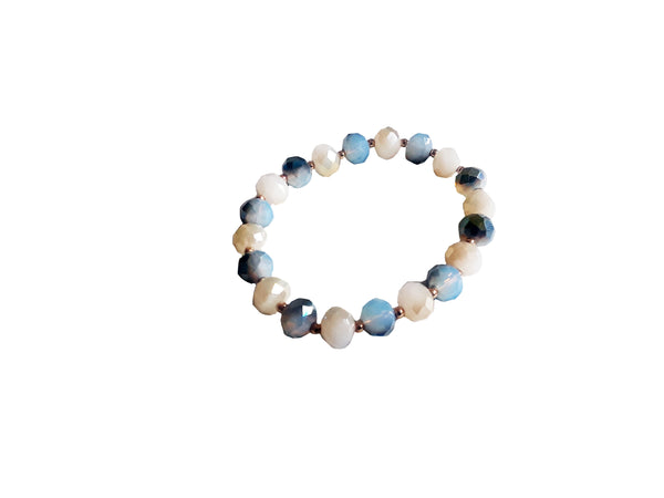 White & Sky Blue Beaded Bracelet - Envee Styles Boutique