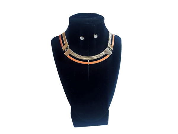 Orange Circular Necklace & Diamond Earrings - Envee Styles Boutique