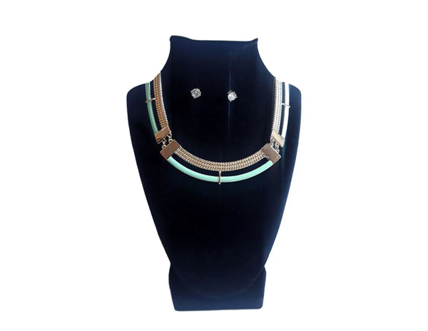 Blue Green Circular Necklace & Diamond Earrings - Envee Styles Boutique