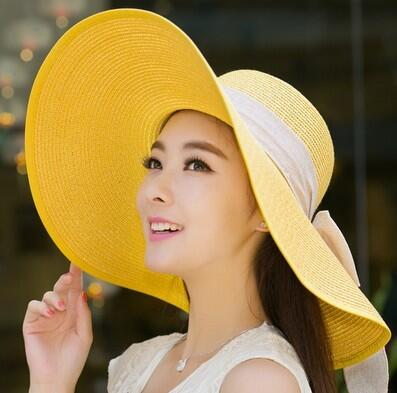 Yellow Beach Hat with a Bow