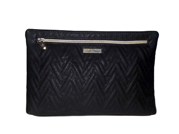 Black Top Zip Black Makeup Bag - Envee Styles Boutique