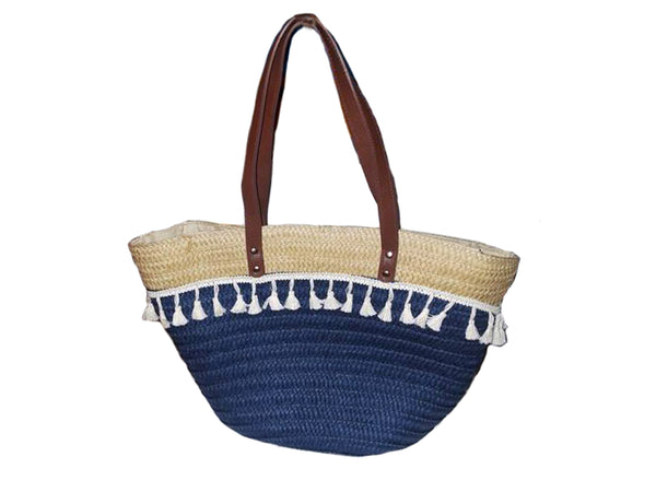 Blue & White Straw Bag - Envee Styles Boutique