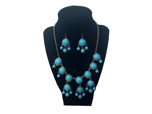 Light Blue Earrings and Necklace - Envee Styles Boutique