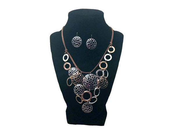 Silver and Gold Circular Necklace and Earrings - Envee Styles Boutique
