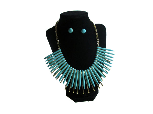 Light Blue Spiked Necklace and Earrings - Envee Styles Boutique