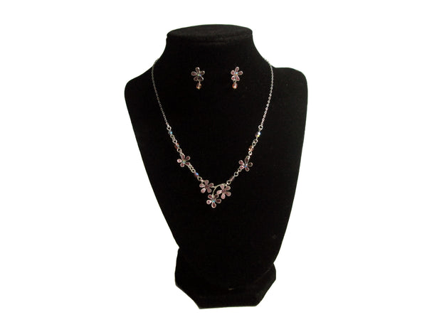Pink and Purple Flowered Necklace and Earrings - Envee Styles Boutique