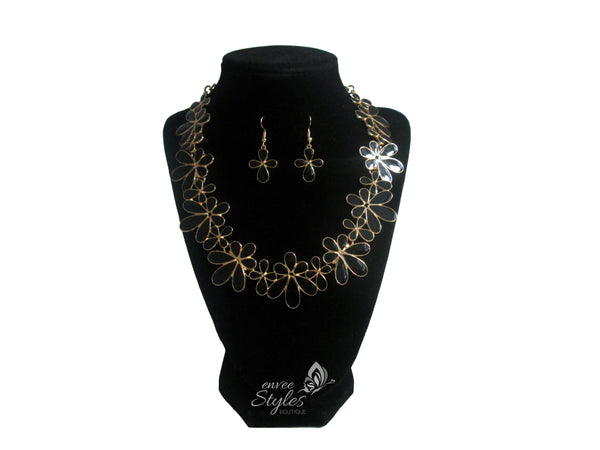 Black Flower Necklace and Earrings