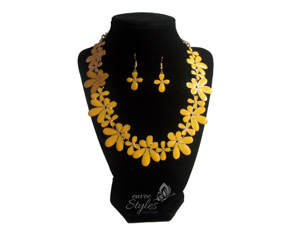 Yellow Flower Necklace and Earrings