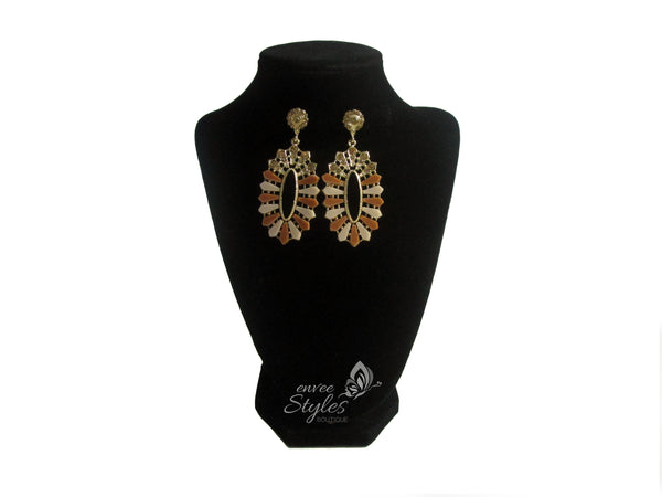 Brown and Gold Design Earrings