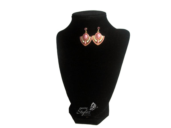 Pink, White Gold Diamond Shaped Earrings - Envee Styles Boutique