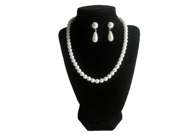 Double Pearl Necklace, Bracelet and Earrings