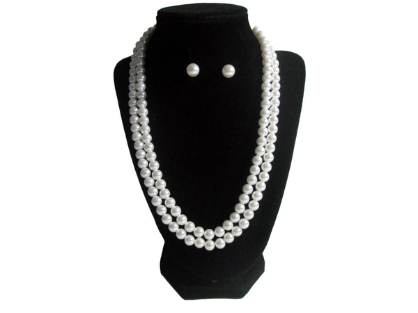 Long Triple Pearl Necklace and Earrings