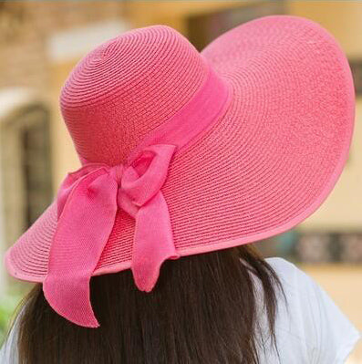 Pink Beach Hat with a Bow