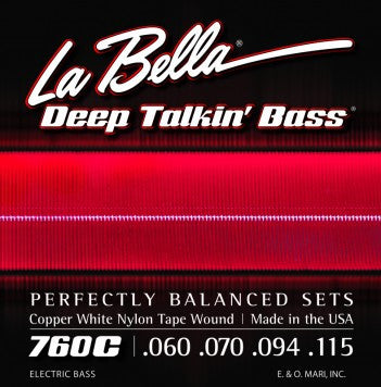 LaBella 760C Copper White Nylon Tape Wound Electric Bass Guitar Strings .60-.115 (4 String Set)