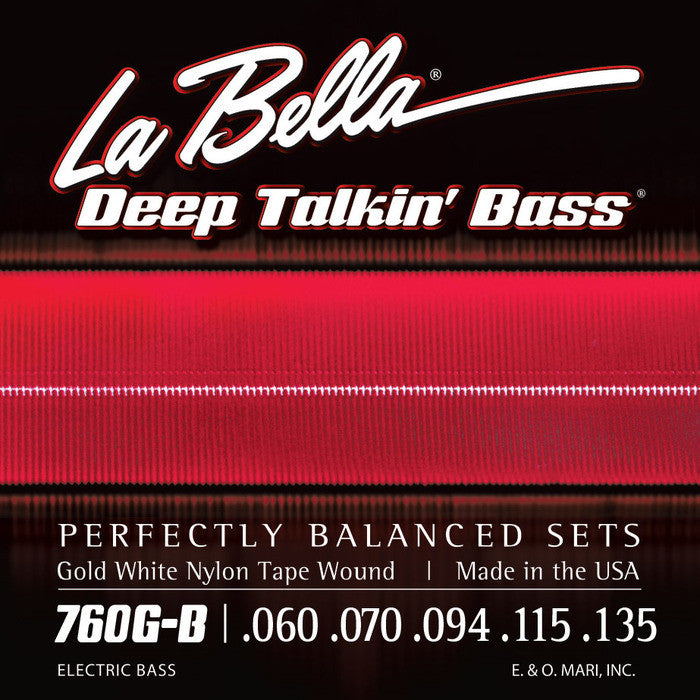 LaBella 760G-B Gold White Nylon Tape Wound Electric Bass Guitar Strings .60-.135 (5 String Set)