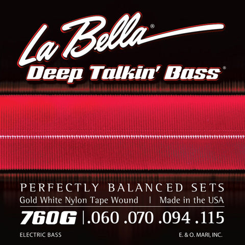 LaBella 760G Gold White Nylon Tape Wound Electric Bass Guitar Strings .60-.115 (4 String Set)