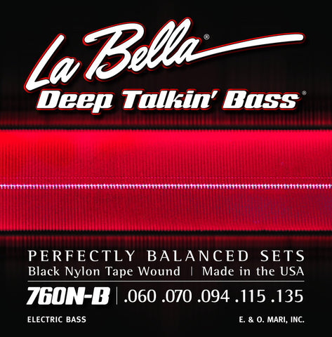 LaBella 760N-B Black Nylon Tape Wound Electric Bass Guitar Strings .60-.135 (5 String Set)