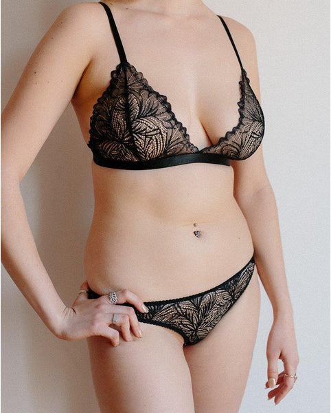 Black Lima Recycled Lace Triangle Bralette *FINAL SALE*