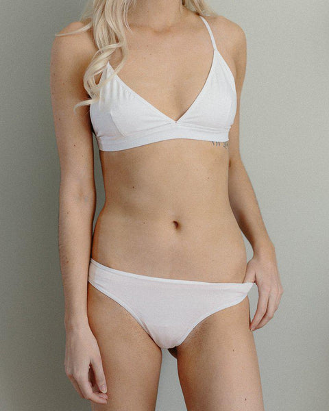 Organic Cotton Basic Rosy Thong - White *FINAL SALE ITEM*