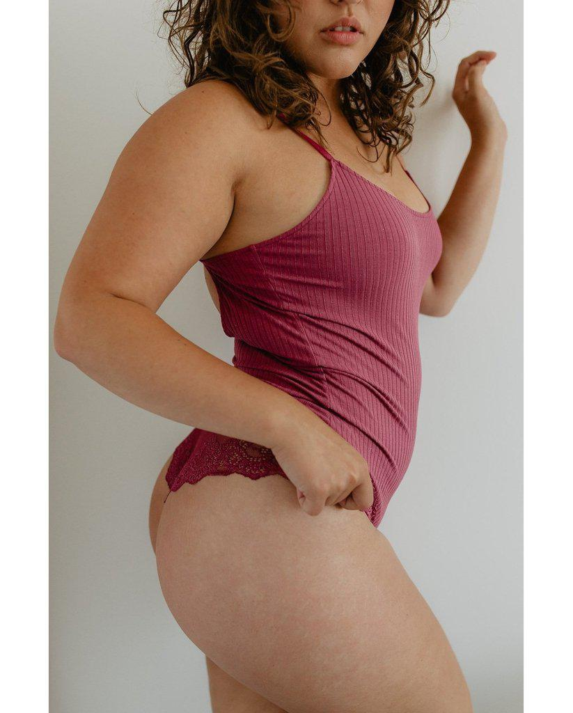 Eco Rib Bamboo Bodysuit with Lace - Plum Pink *Only M left!* *FINAL SALE ITEM*