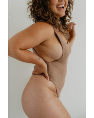 Eco Rib Bamboo Tank Bodysuit - Biscuit Brown *Only M + L left FINAL SALE ITEM*