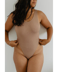 Eco Rib Bamboo Tank Bodysuit - Biscuit Brown