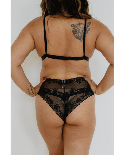 Brianna Recycled Lace Boyshort Undies - Black