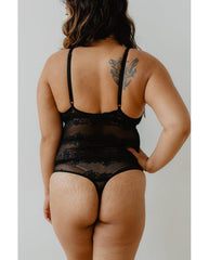 Brianna Recycled Lace Bodysuit - Black *ONLY M LEFT* *FINAL SALE ITEM*
