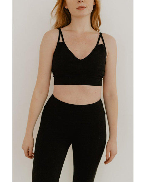 Organic Cotton Crossover Light Sports Bra - Black