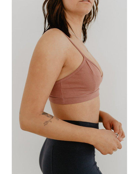 Organic Cotton Light Sports / Yoga / Lounge Bra - Rose Pink *Only XS left!*