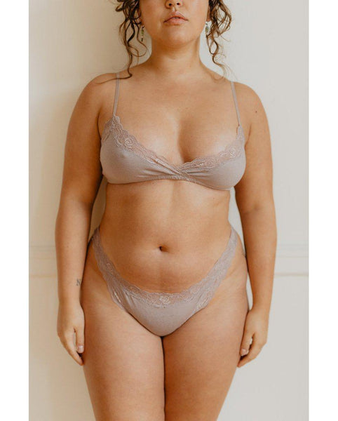 Organic Cotton Wrap Bralette - Oyster Taupe
