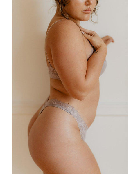 Organic Cotton Not So Basic Thong - Oyster Taupe