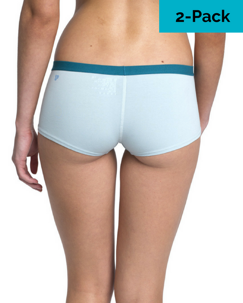 Organic Cotton Everyday Cozy Boyshort - Teal / Light Blue 2 Pack