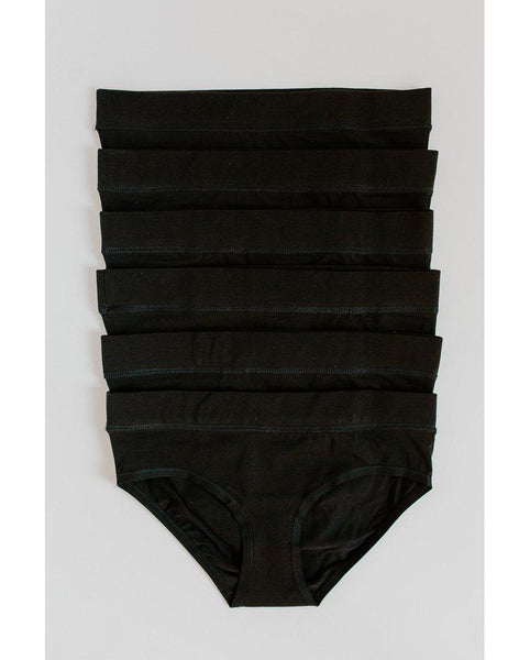 6-Pack Organic Cotton Hipster Bikini Undies - Black *Only XS left! FINAL SALE*