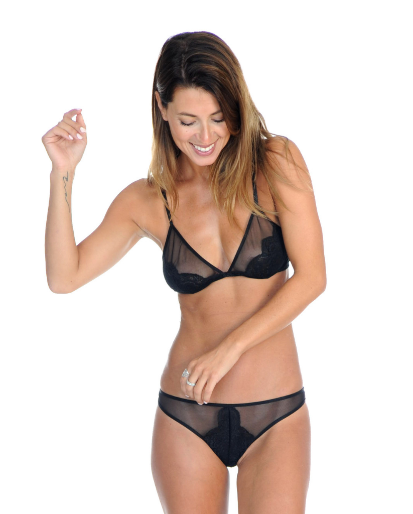 Amely Black Lace Thong