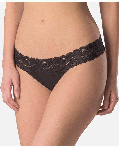 Organic Cotton Lace Thong - 2 pack