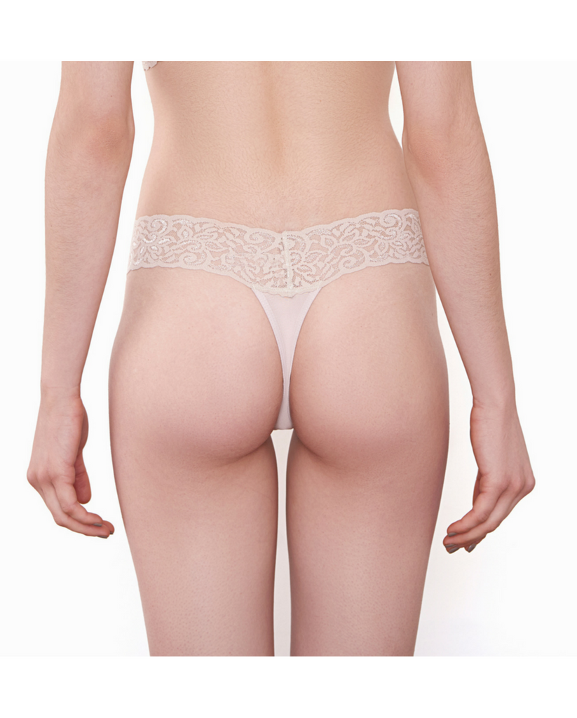 Chrystie Lace Bamboo Thong - Burgundy