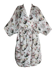 Florance Cream & Pink Floral Print Robe