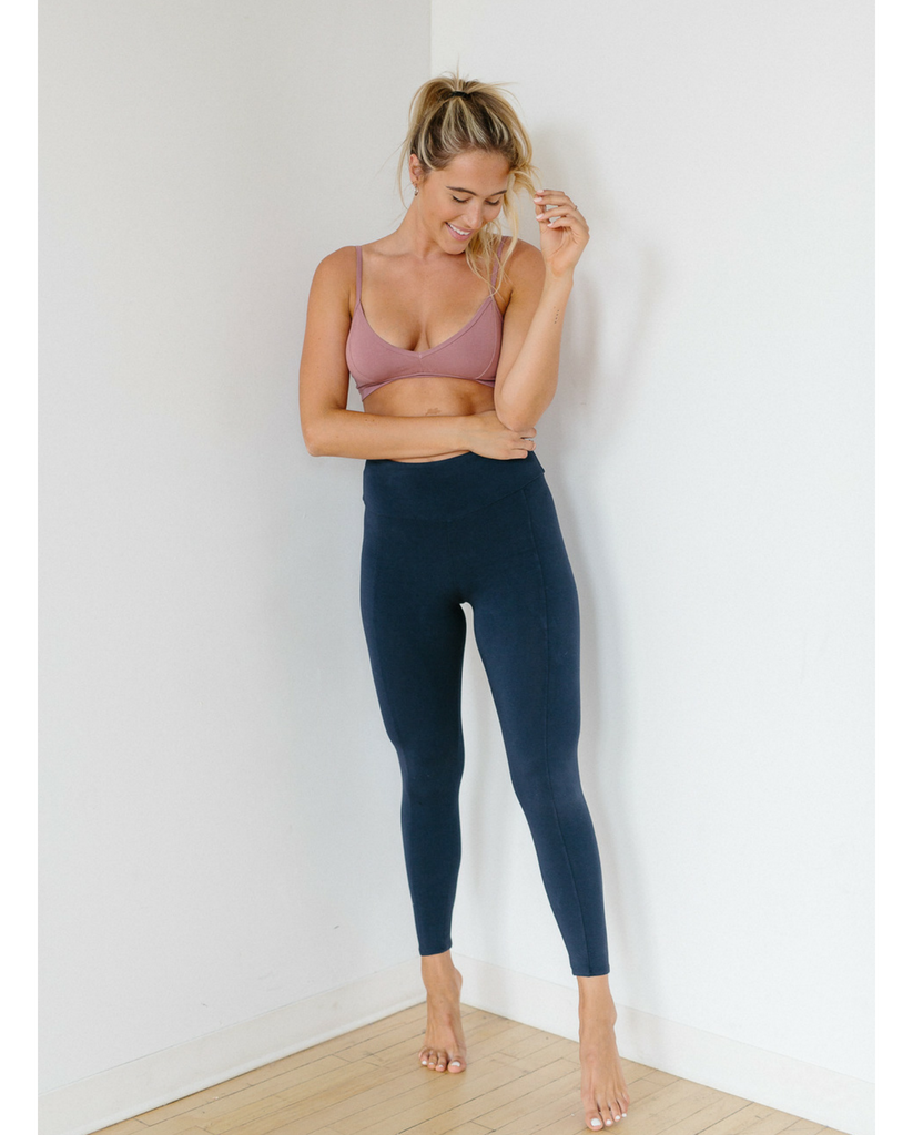 High Waist Organic Cotton Legging - Ink Blue *Only L left but restock coming soon!*