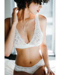 Italia White Lace Soft Bralette *Extended Sizing Available!*