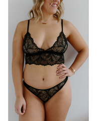 Lima Recycled Lace Bralette - Black Leaf *Restock coming in April!*