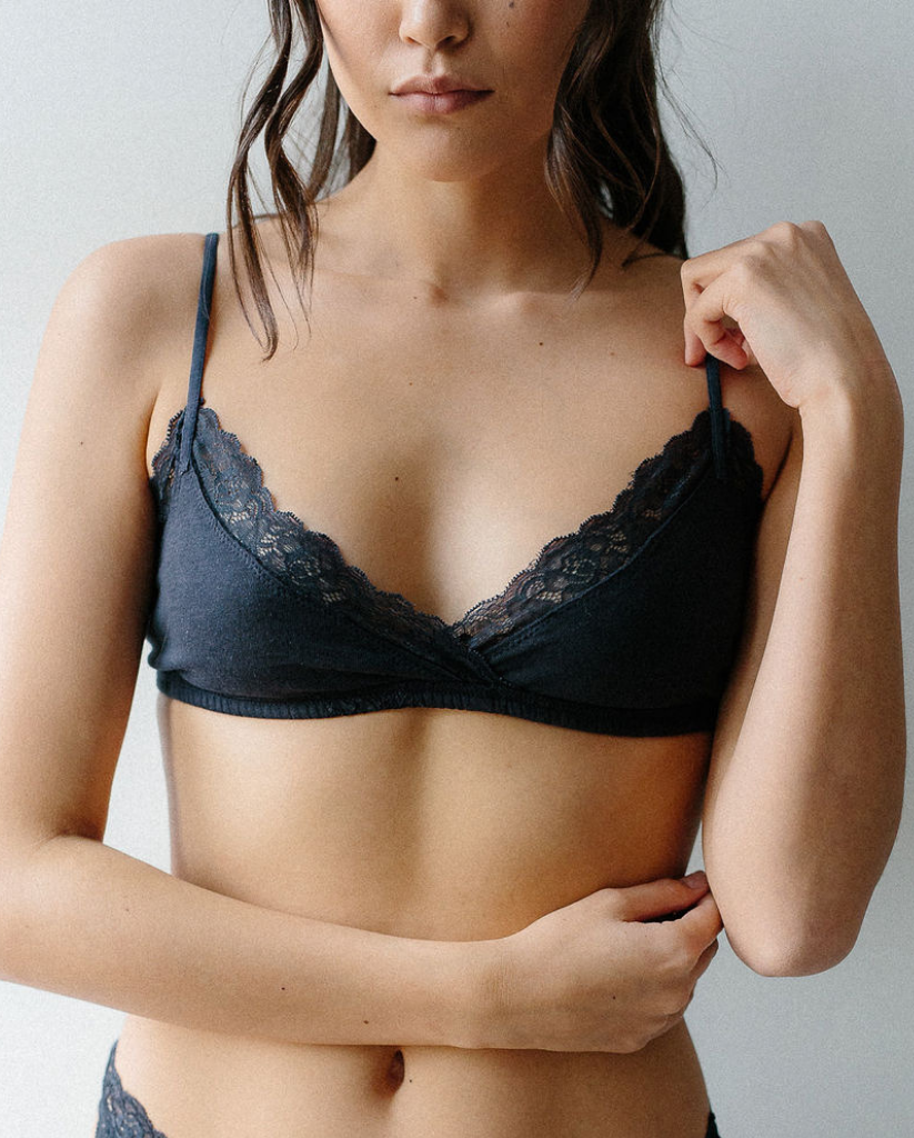 Organic Cotton Wrap Bralette - Navy Blue