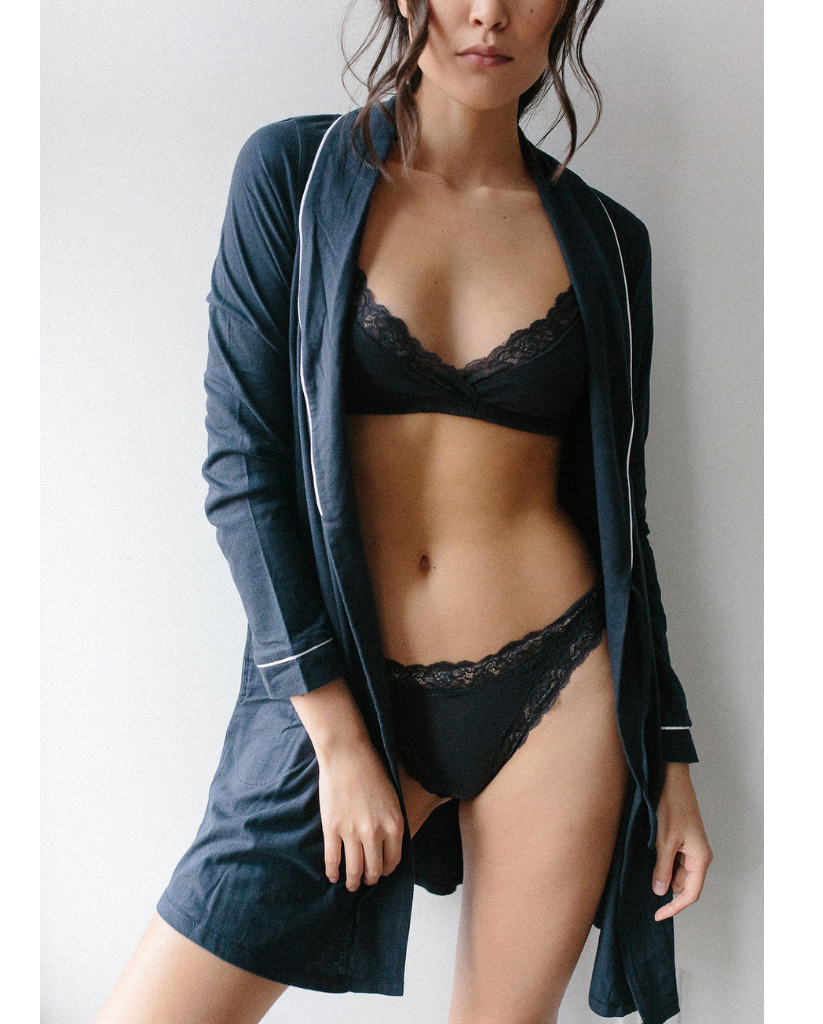 Organic Cotton Wrap Bralette - Navy Blue *Only M/L left!*