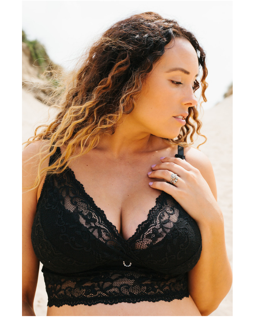 Nikki Black Lace Nursing / Transition Bralette