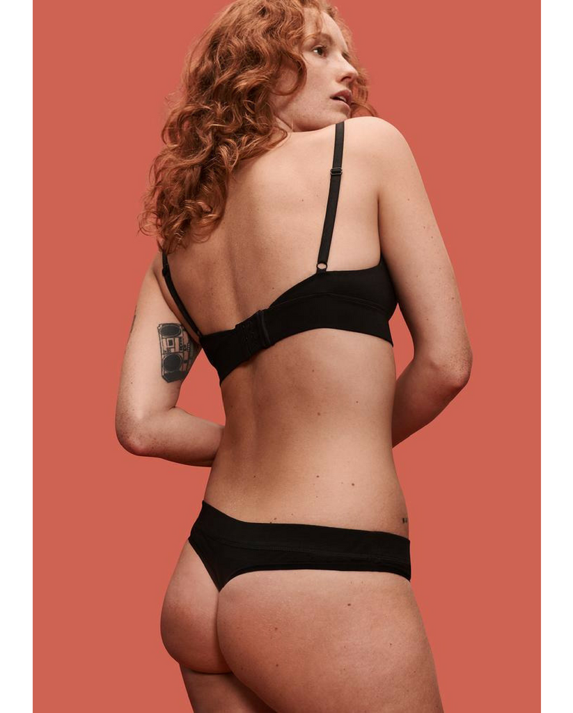 2-Pack Organic Cotton Everyday Comfy Thong - Black