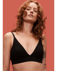 Organic Cotton Triangle Bra - Black