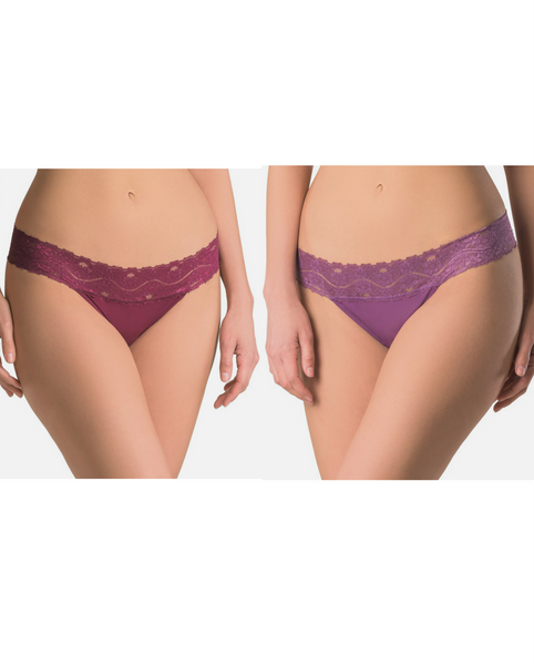 Plum / Lilac Organic Cotton Lace Thong - 2 pack